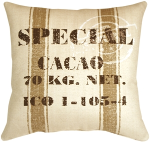 You don't have to be a cacao bean merchant to appreciate the rustic charm of this large 24x24 inch square throw pillow. Made from a soft and sturdy broad weave fabric, this fun throw pillow will add comfort, charm and conversation to your home
