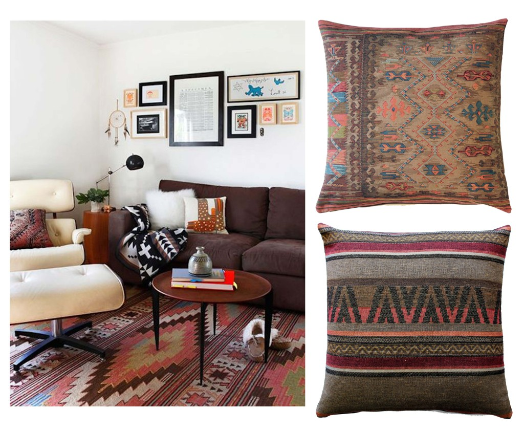 Aztec design room and pillows
