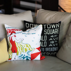 city-inspired bus scroll vancouver pillows